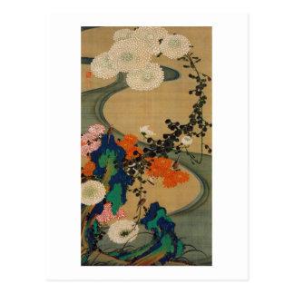 29. 菊花流水図、若冲の菊及び流れ、Jakuchū ポストカード