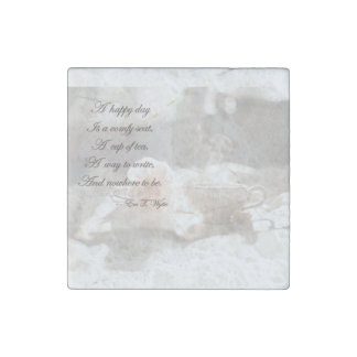 """2""""で幸せな日の執筆大理石の石の磁石2"""" ストーンマグネット"""