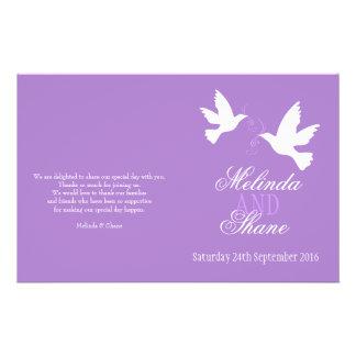 2|白い|鳩|紫色|リボン|結婚|プログラム
