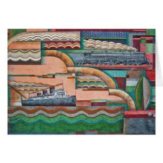 #2 1929年のDecoの交通機関の壁画 グリーティングカード
