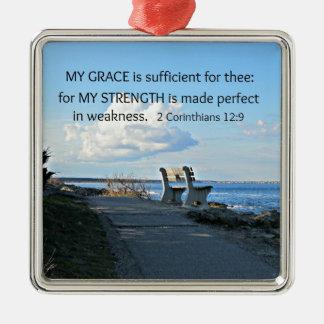 2 Corinthiansの12:9私の優美は十分…です メタルオーナメント