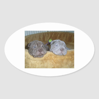2 shar pei puppies.png 楕円形シール