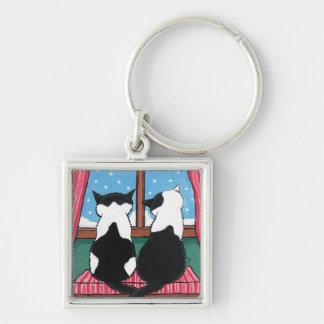 2 Snowyの窓の絵画の黒く及び白い猫 キーホルダー