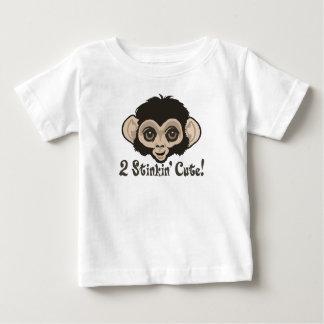 2 Stinkinかわいい猿のベビー ベビーTシャツ