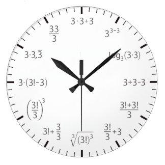 3かける数学の時計3 -シンプル及びbeautyful ラージ壁時計
