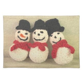 3つのすてきな雪だるまのランチョンマット ランチョンマット