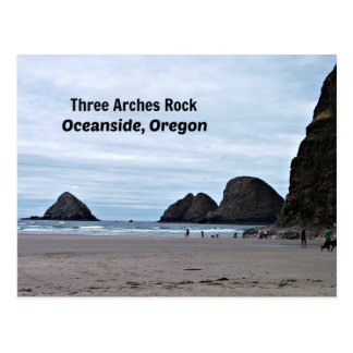3つのアーチの石のオーシャンサイド、オレゴン ポストカード