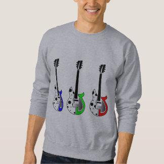 3つのエレキギター-ネオンポップアート スウェットシャツ