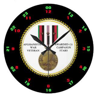 3つのキャンペーン星のアフガニスタンの退役軍人 ラージ壁時計