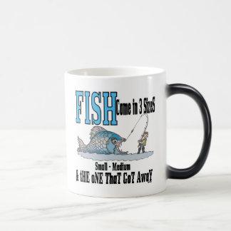 3つのサイズを採取するおもしろいな魚釣りのマグの魚釣りのユーモア モーフィングマグカップ
