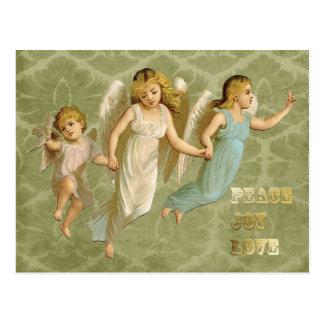 3つのビクトリアンな天使の平和喜び愛 ポストカード