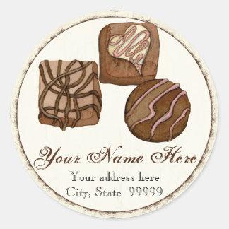 3つの優美なチョコレート、住所ステッカー ラウンドシール