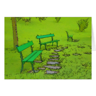 3つの公園のベンチは緑をリラックスするのに時間をかけます カード