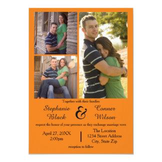 3つの写真のオレンジ-結婚式招待状 12.7 X 17.8 インビテーションカード