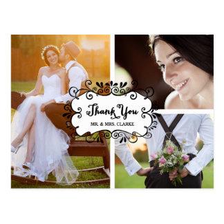 3つの写真のコラージュの結婚式は郵便はがき感謝していしています 葉書き