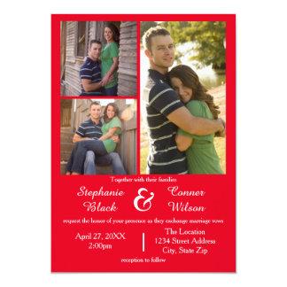 3つの写真の赤結婚式招待状 12.7 X 17.8 インビテーションカード