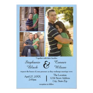 3つの写真の青結婚式招待状 12.7 X 17.8 インビテーションカード