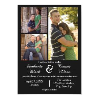 3つの写真の黒結婚式招待状 12.7 X 17.8 インビテーションカード