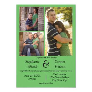 3つの写真は-結婚式招待状を緑化します 12.7 X 17.8 インビテーションカード