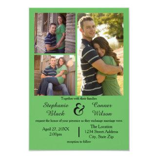 3つの写真は- 3x5結婚式招待状を緑化します 8.9 x 12.7 インビテーションカード