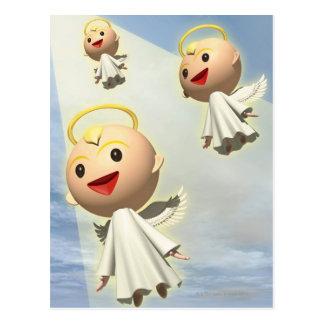 3つの天使、CG、3Dのイラストレーション、低い角度 ポストカード