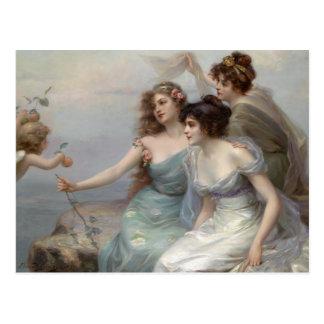 3つの女性および天使 はがき