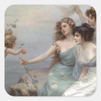 3つの女性および天使 正方形シール