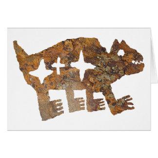 3つの星が付いているくまの岩石彫刻 カード