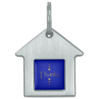 3つの点の金ゴールドのブロックの感謝及び青い背景 ペットネームタグ