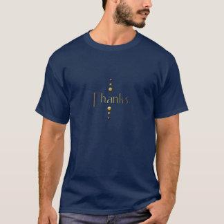3つの点の金ゴールドのブロックの感謝及び青い背景 Tシャツ
