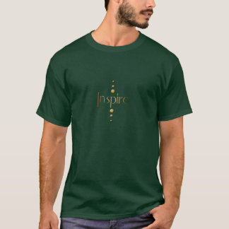 3つの点の金ゴールドのブロックは背景をインスパイア及び緑化します Tシャツ