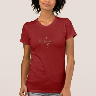 3つの点の金ゴールドのブロック及びバーガンディの背景は想像します Tシャツ