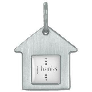 3つの点の銀製のブロックの感謝 ペットネームタグ