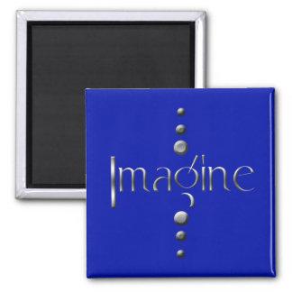 3つの点の銀製のブロックは及び青い背景想像します マグネット