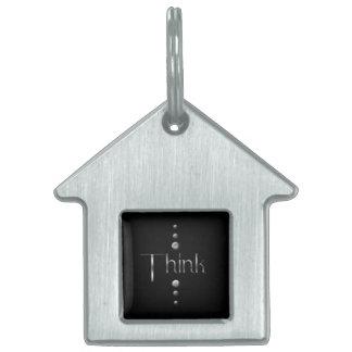 3つの点の銀製のブロックは背景を考えましたり及び黒くします ペットネームタグ