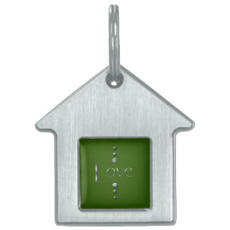 3つの点の銀製のブロック愛及び緑の背景 ペットネームタグ