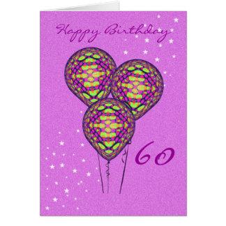 3つの紫色の気球 カード