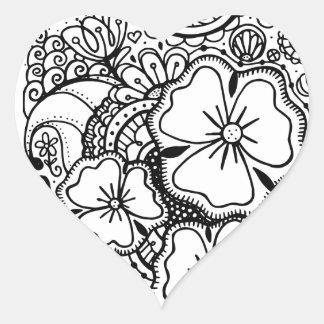 3つの花Zendoodle 062514のステッカー ハートシール