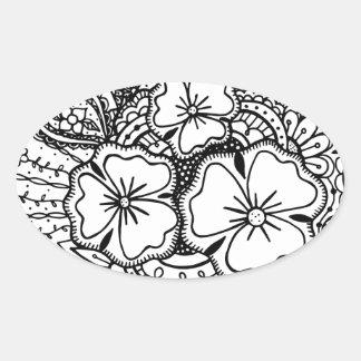 3つの花Zendoodle 062514 楕円形シール