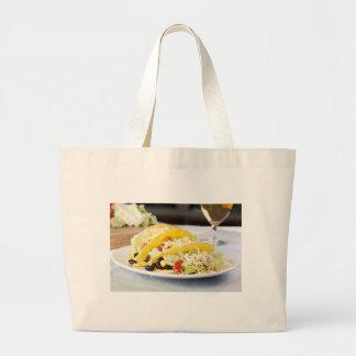 3つの菜食主義のタコスの布のバッグ ラージトートバッグ