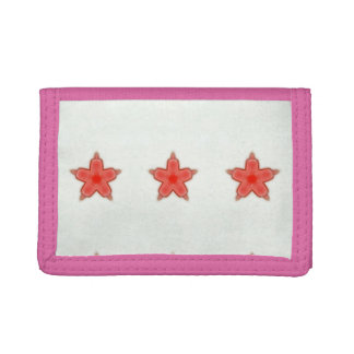 3つの赤い星の札入れ ナイロン三つ折りウォレット