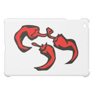 3つの赤の唐辛子の三角形 iPad MINIケース