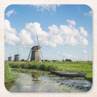3つの風車および運河のコースター スクエアペーパーコースター