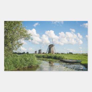 3つの風車および運河の長方形のステッカー 長方形シール・ステッカー