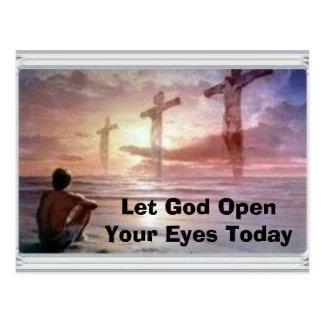 3つは、神を今日開けますあなたの目を可能にしました ポストカード