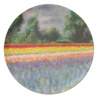 3の1つを絵を描く花の景色のトリプティク プレート