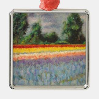 3の1つを絵を描く花の景色のトリプティク メタルオーナメント