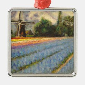 3の2つを絵を描く花の景色のトリプティク メタルオーナメント