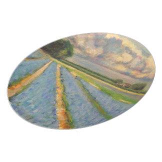 3の3つを絵を描く花の景色のトリプティク プレート