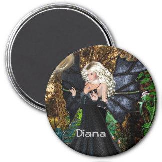 3インチの円形の磁石; 妖精のコレクション: ダイアナ マグネット